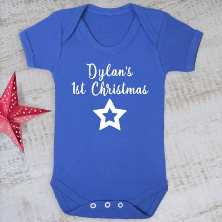 Personalised First Christmas Blue Baby Grow